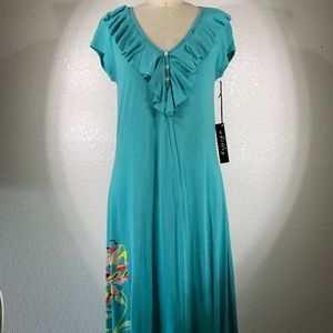 Johnny Was Whitley Ruffle Henley Cotton Dress NWT